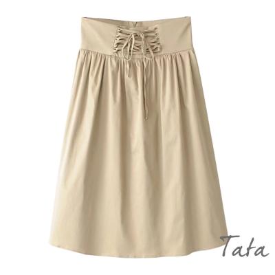 素面腰部綁帶七分裙 共二色 TATA