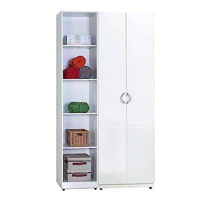 AT HOME-凱倫4尺白色兩件組合衣櫃[雙吊+五格](110*54*197cm)