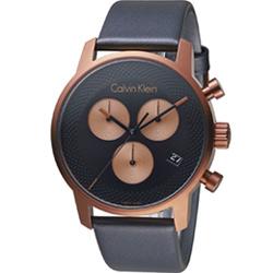 Calvin Klein City都會系列三眼計時腕錶-古銅金色/43mm