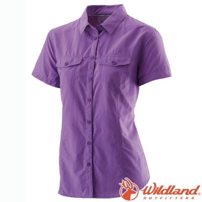 Wildland 荒野 W1203-29紫羅蘭 女 排汗抗UV短袖襯衫