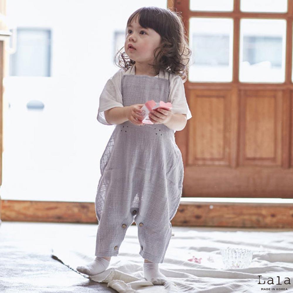 Lala韓國 灰色韓風雀斑眉毛小兔連身褲