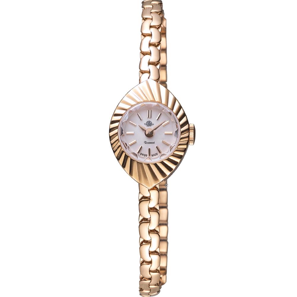 玫瑰錶 Rosemont 骨董風玫瑰系列X杏仁果狀時尚鍊錶-玫瑰金色/17mm