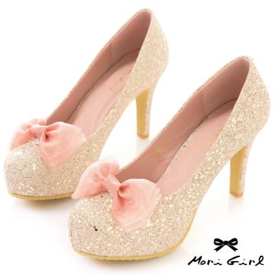 Mori girl 2WAY可拆蝴蝶結精緻亮片金蔥高跟鞋 金