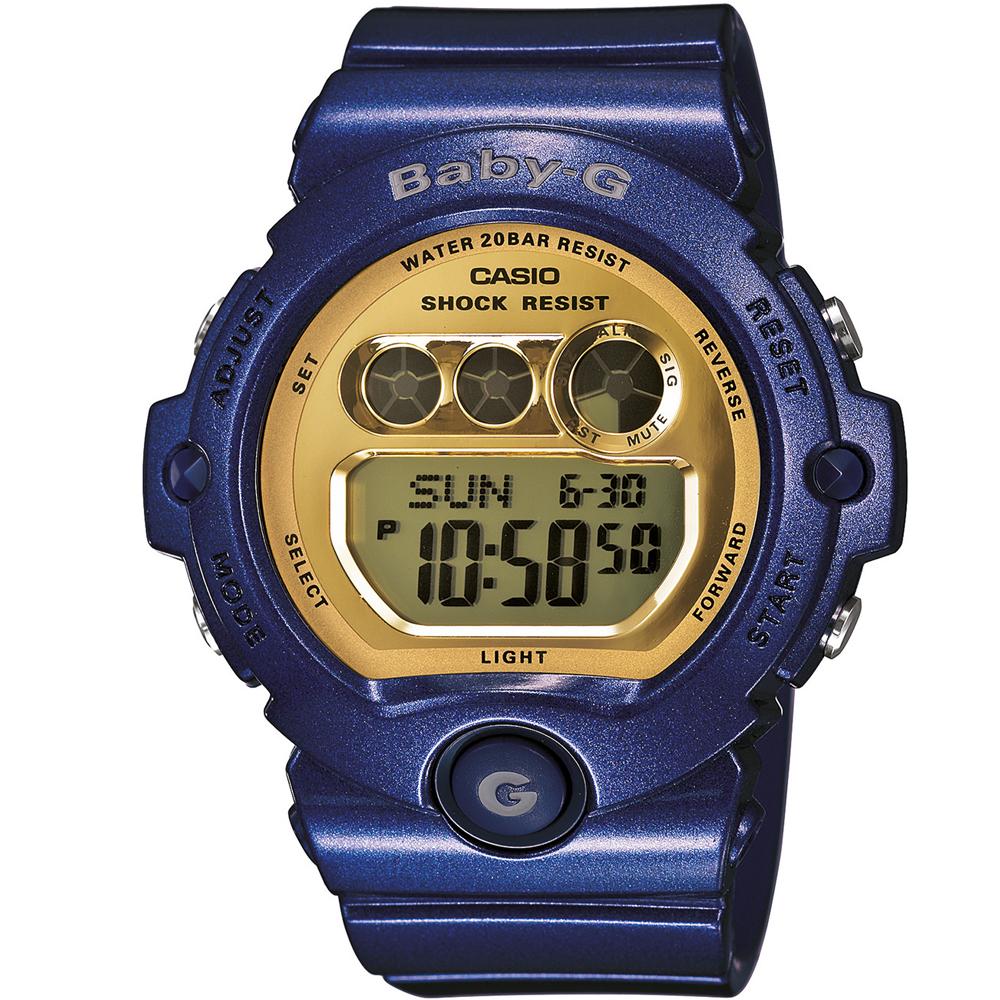 BABY-G 爽朗冰沙色甜美運動風數位錶-戀紫x水藍色/42mm