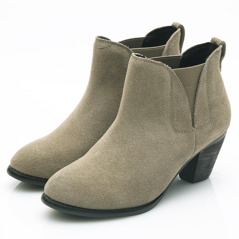 G.Ms. 牛麂皮拼接鬆緊帶造型粗跟踝靴-淺卡其