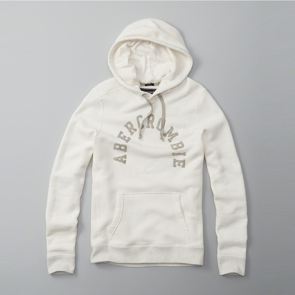 A&F 經典文字電繡帽T-白色 AF Abercrombie