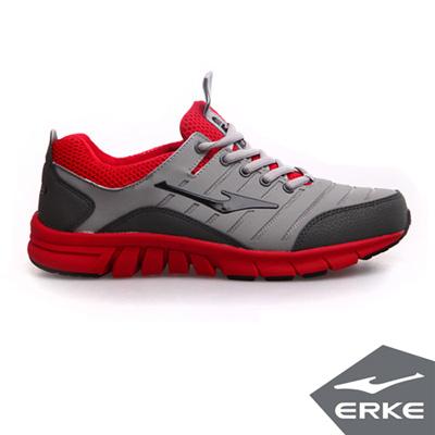 ERKE 鴻星爾克。男運動常規慢跑鞋-鋼灰/大紅