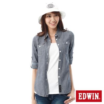 EDWIN 點點牛津襯衫-女-丈青色