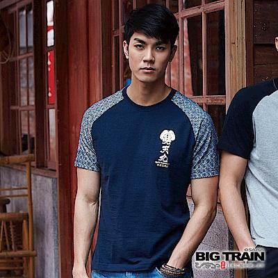 BIG TRAIN 伊達政宗配色滿版袖T-男-暗藍