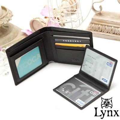 Lynx-山貓經典品牌風真皮款8卡3照可拆式短夾