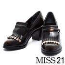 粗跟鞋MISS 21 經典極簡瑪麗珍可拆式流蘇踝靴粗跟鞋-深棕