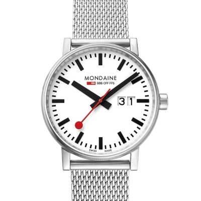 MONDAINE 瑞士國鐵 evo2 時光走廊米蘭鏈帶錶-白/40mm