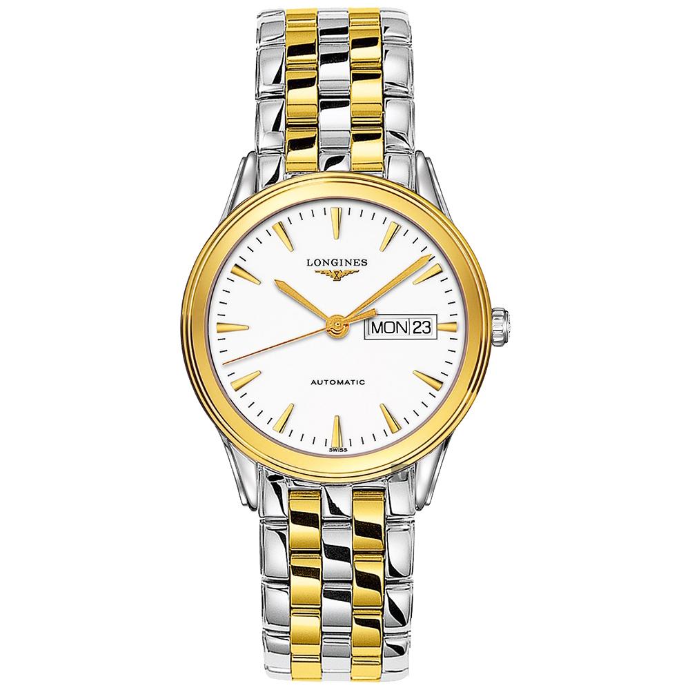 LONGINES浪琴 Flagship 系列旗艦機械錶-白x雙色/38mm