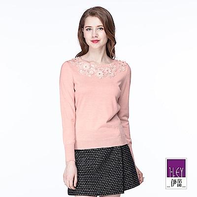 ILEY伊蕾 精緻縫珠圓領針織上衣(粉/紅)