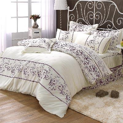AmoreCasa 羅蘭紫 綿柔感雙人八件式兩用被床罩組