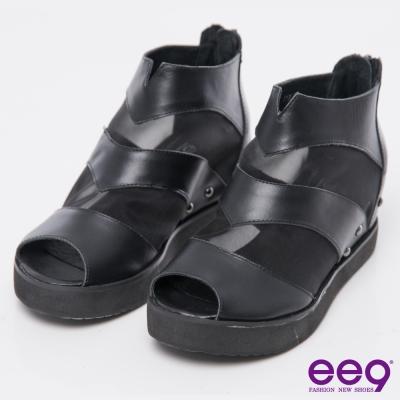ee9率性焦點~酷勁個性異材質交錯併接內增高厚底休閒鞋~黑色