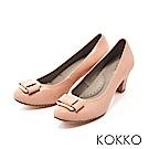 KOKKO -都會時尚金屬飾釦羊皮粗高跟鞋-綻放大理菊