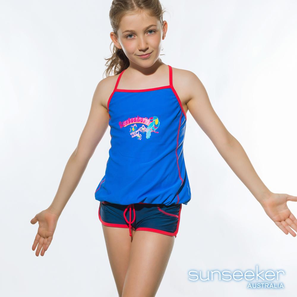 澳洲Sunseeker泳裝抗UV防曬兩件式泳衣-大女童/藍紫