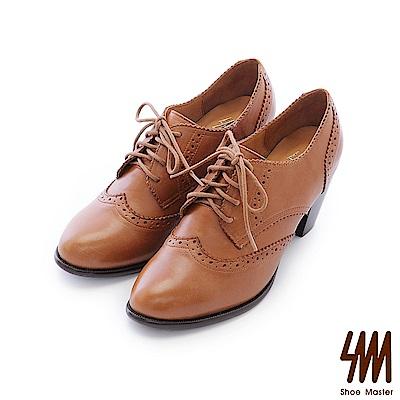 SM-台灣全真皮-雕花心形外套綁帶微尖頭中高粗跟牛津鞋-棕色