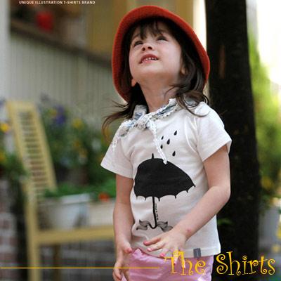 【The Shirts】下雨了!彩繪小傘短袖T恤 (共二色)