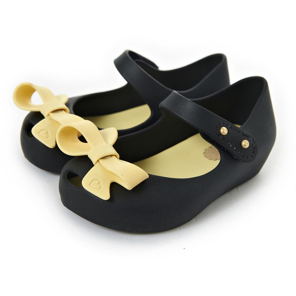 MINI MELISSA蝴蝶結魚口鞋-黑/米黃
