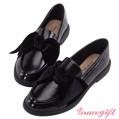 Grace gift-異材質絨布蝴蝶結樂福鞋 黑