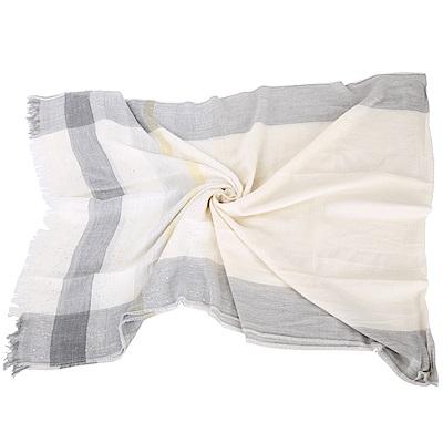 FABIANA FILIPPI 米色流蘇格紋絲綢圍巾