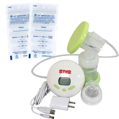 超靜音八段式液晶電動手動吸乳器+芬蒂思 平面型母乳冷凍袋/120ml/60入/贈30抽濕巾
