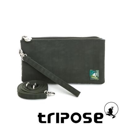 tripose 漫遊系列岩紋簡約微旅手拿/側肩包 深綠
