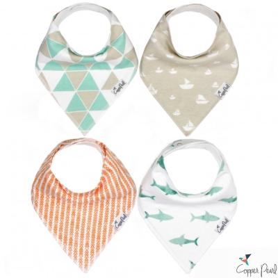 Copper Pearl 美國 海洋假期雙面領巾圍兜口水巾4件組