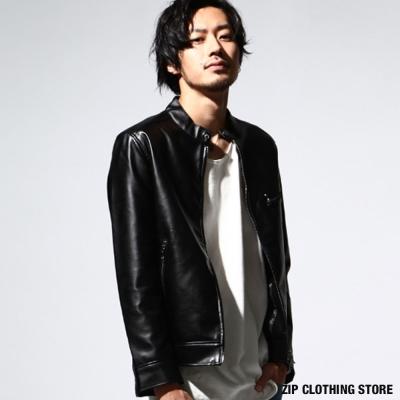 薄款騎士外套皮衣 ZIP日本男裝