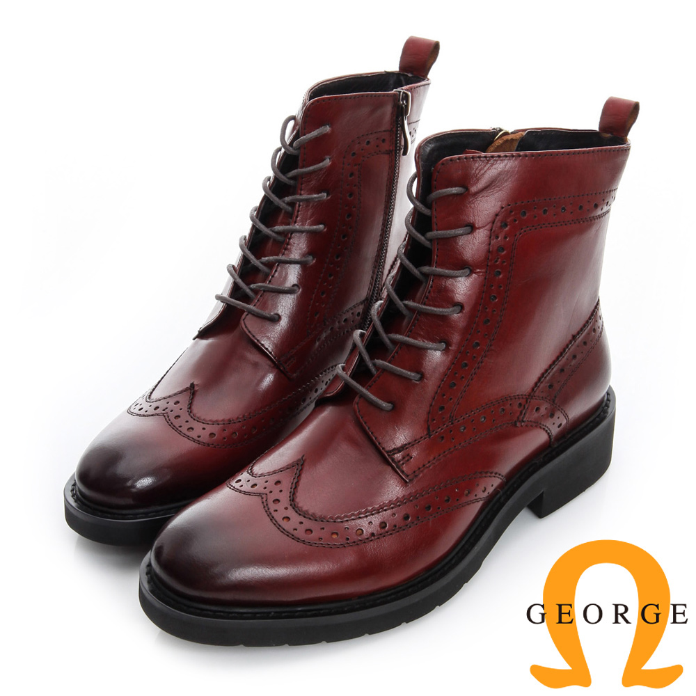 GEORGE 喬治-復古英倫風牛津雕花繫帶短靴-酒紅色