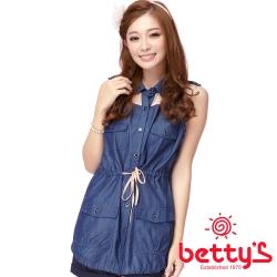 betty's貝蒂思 雪紡拼接腰間綁帶