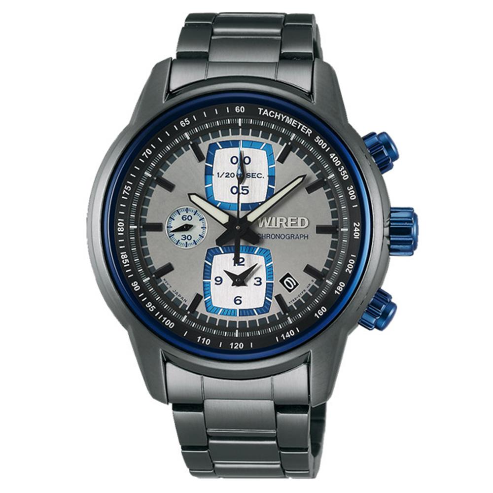 WIRED Reflection 冷灰時尚計時碼錶(AF8U19X1)-藍x灰/43mm