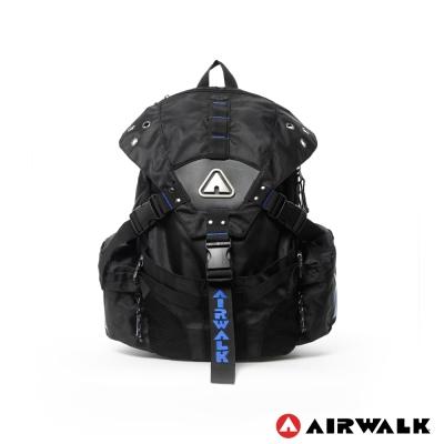 AIRWALK-潮流三叉扣後背包-黑繡藍