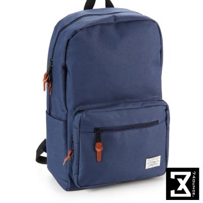 74盎司 後背包 韓版尼龍素色硬挺 後背包[TG-065]深藍