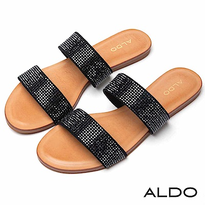 ALDO 原色寬版雙環繫帶耀眼水鑽木紋跟涼拖鞋~質感黑色
