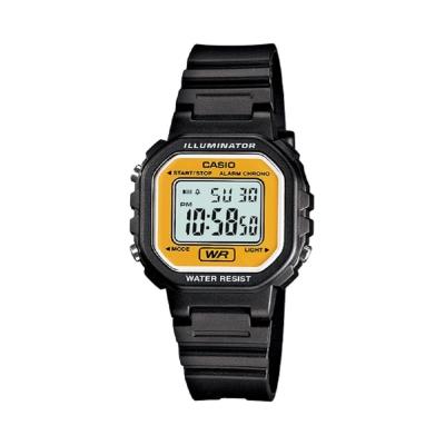 CASIO 黑色炫風方形電子錶(LA-20WH-9A)-黃面/30.4mm