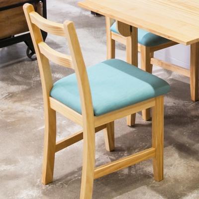CiS自然行實木家具-北歐實木餐椅扁柏自然色湖水藍椅墊