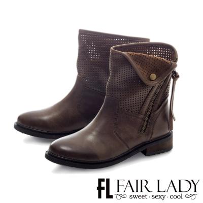 Fair Lady 洗舊刷紋拉鍊設計機車短靴 咖