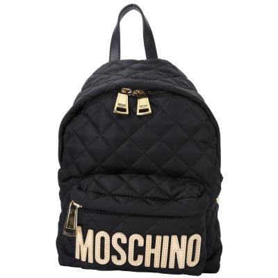 MOSCHINO 菱格車縫尼龍後背包(小/黑色)