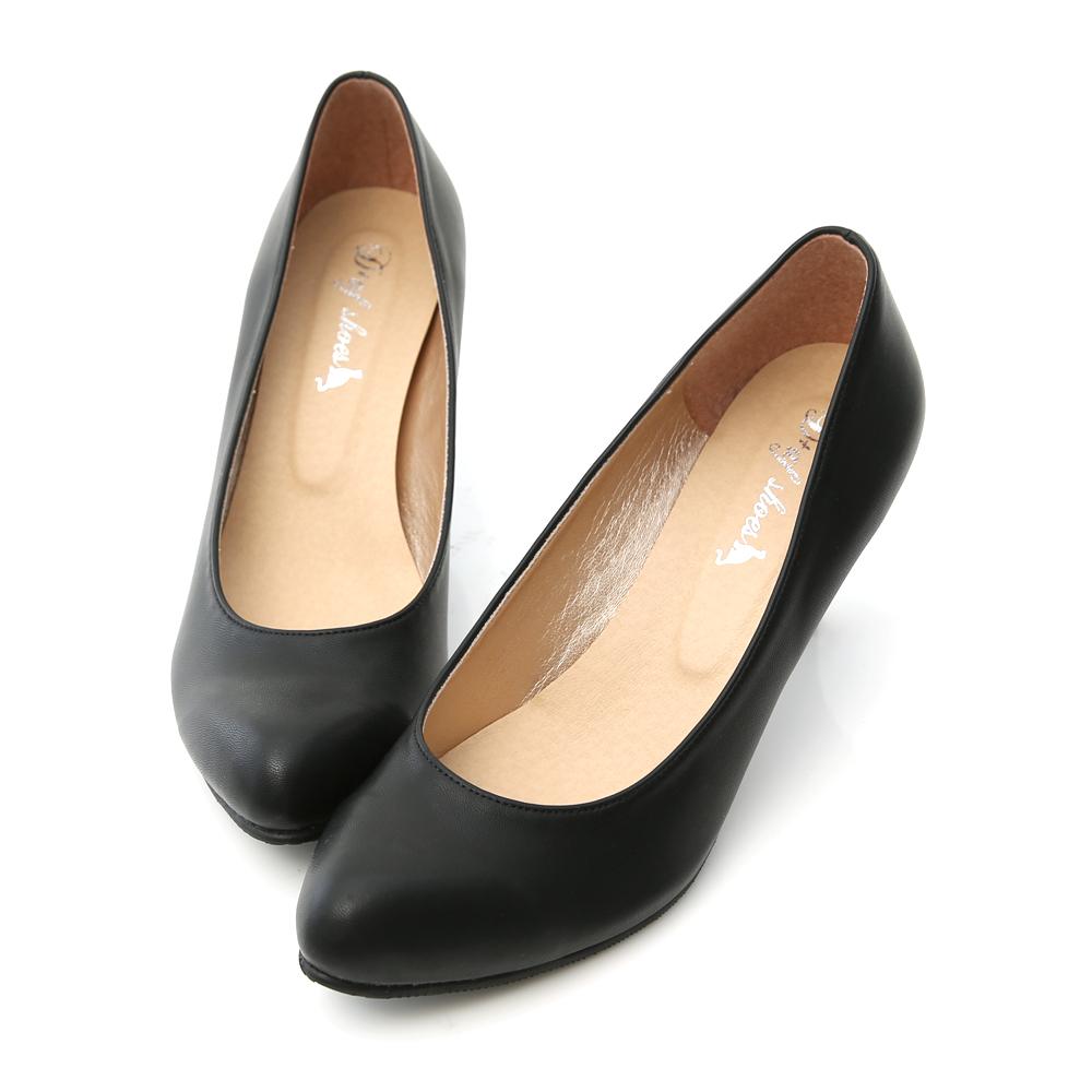 D+AF 小資首選‧MIT素面尖頭6.5cm中跟鞋*黑