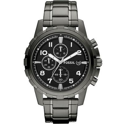 FOSSIL 菁英部隊三眼計時腕錶-鐵灰/45mm