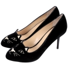 Charlotte Olympia Kitty 經典天鵝絨貓咪高跟鞋(黑色)