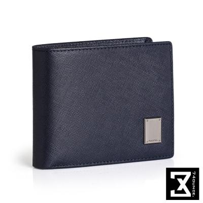 74盎司 Cross 十字紋橫式短夾(零錢袋)[N-552]深藍