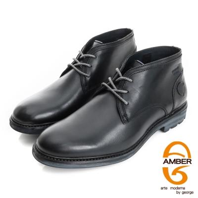 Amber-紳士品味 真皮素面低筒綁帶皮鞋(男)-黑色