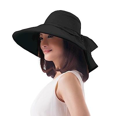 日本日麗姿 可折疊抗UV優雅蝴蝶帽(典雅黑)