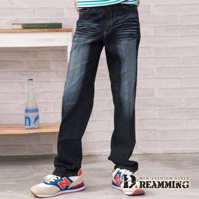 Dreamming 刷色拼接繡線口袋伸縮中直筒牛仔褲