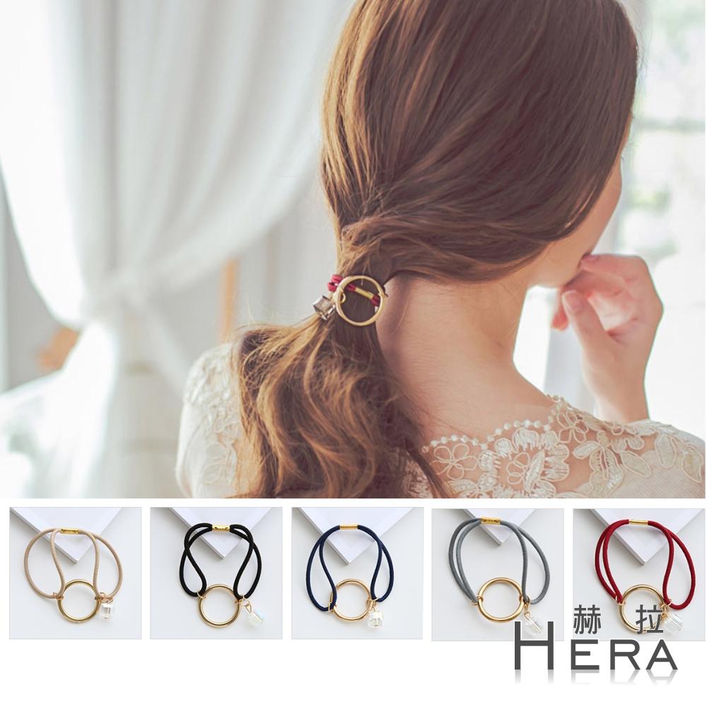 Hera 赫拉 金屬幾何圓圈方塊水晶髮圈/髮束-五色