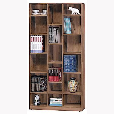 H&D 積層柚木色開放書櫥 (寬90.5X深30X高182cm)